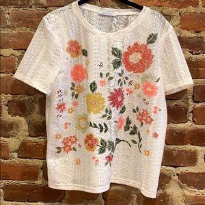 Zara Trafaluc Lace/Floral Shirt